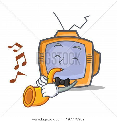 TV character cartoon object with trumpet vector illustration