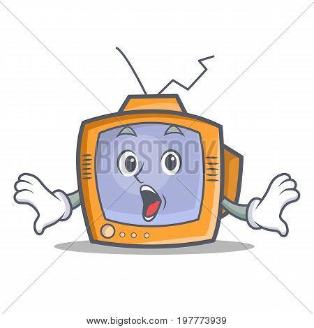 Surprised TV character cartoon object vector illustration