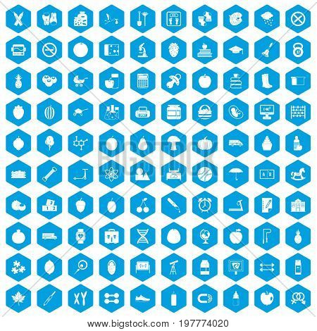 100 apple icons set in blue hexagon isolated vector illustration