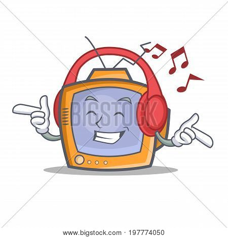 Listening music TV character cartoon object vector illustration