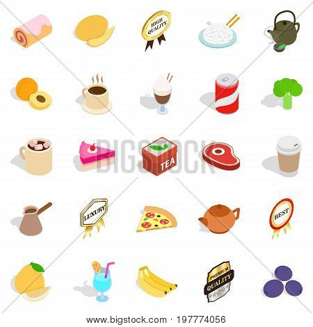 Beverage icons set. Isometric set of 25 beverage vector icons for web isolated on white background