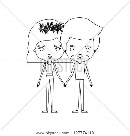 monochrome silhouette of caricature couple standing and both with pants and her with short hair and floral crown and him with van dyke beard vector illustration