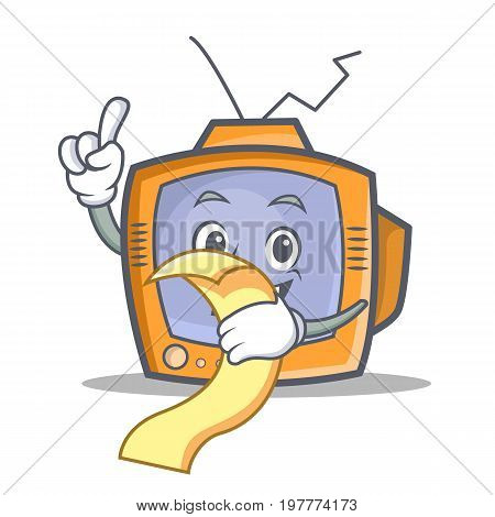 TV character cartoon object with menu vector illustration