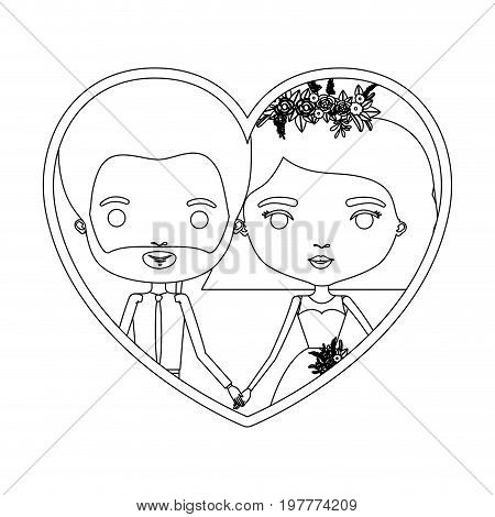 monochrome silhouette heart shape portrait caricature of newly married couple groom with formal wear and bride with wavy short hairstyle vector illustration