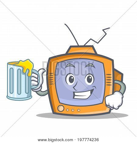 TV character cartoon object with juice vector illustration