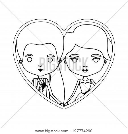monochrome silhouette heart shape portrait caricature of newly married couple groom with formal wear and bride with long hairstyle vector illustration