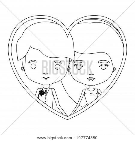monochrome silhouette heart shape portrait caricature of newly married couple young groom with formal wear and bride with long hairstyle vector illustration