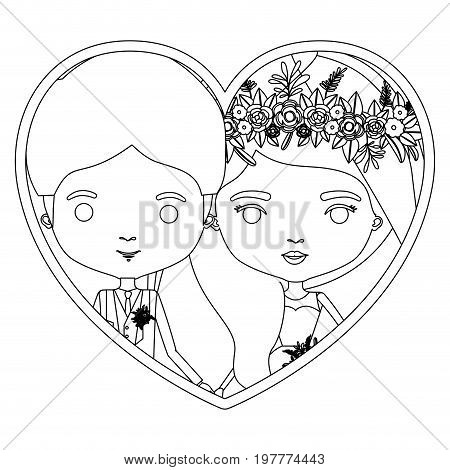 monochrome silhouette heart shape portrait caricature of newly married couple groom with formal wear and bride with wavy side long hairstyle vector illustration