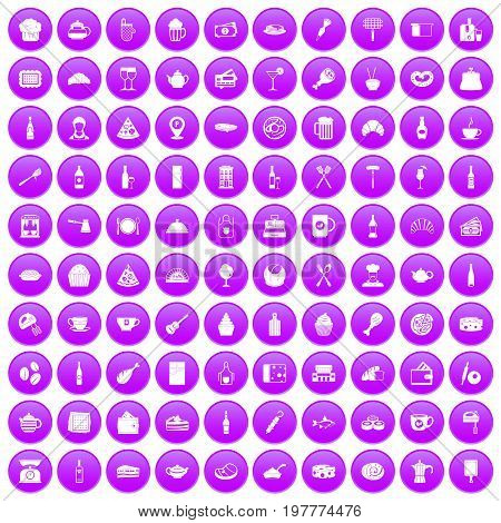 100 restaurant icons set in purple circle isolated on white vector illustration