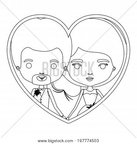 monochrome silhouette heart shape portrait caricature of newly married couple in wedding suits vector illustration