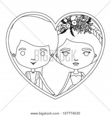 monochrome silhouette heart shape portrait caricature of newly married couple groom with formal wear and bride with collected hairstyle vector illustration