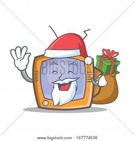 Santa TV character cartoon object with gift vector illustration
