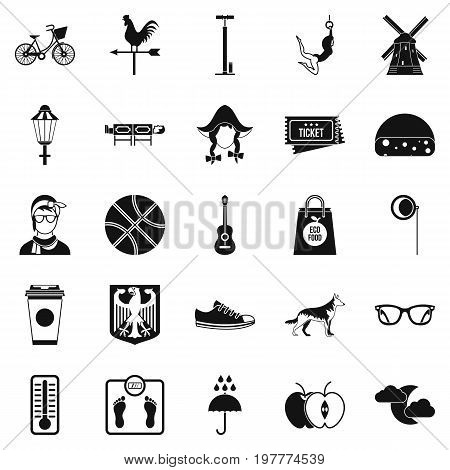 Rural icons set. Simple set of 25 rural vector icons for web isolated on white background