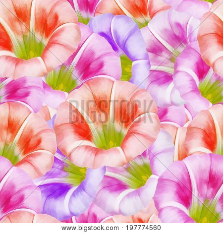 larger bindweed. Texture of flowers. Seamless pattern for continuous replicate. Floral background photo collage for production of textile cotton fabric. For use in wallpaper covers
