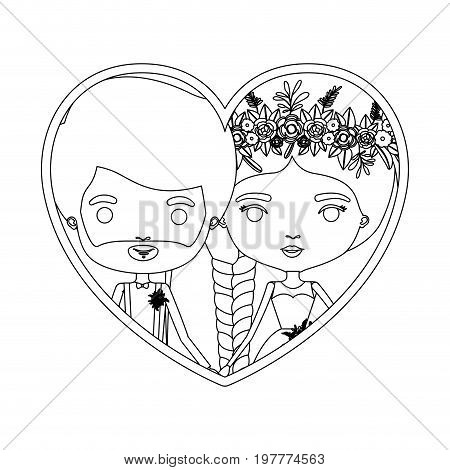 monochrome silhouette heart shape portrait caricature of newly married couple groom with formal wear and bride with braids hairstyle vector illustration