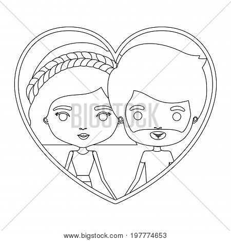 monochrome silhouette heart shape portrait caricature with couple and him with short hair and beard and her with wavy short hairstyle and braid vector illustration
