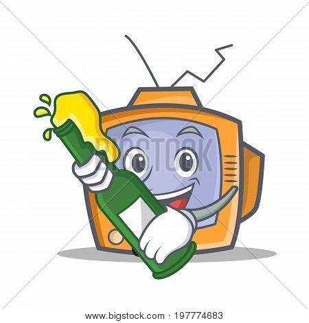 TV character cartoon object with beer vector illustration