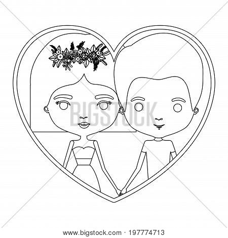 monochrome silhouette heart shape portrait caricature with couple and him with short hair and her with dress and short hairstyle and floral crown accesory vector illustration