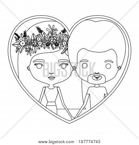monochrome silhouette heart shape portrait caricature with couple and her with medium straight hair and floral crown accesory and him with van dyke beard vector illustration