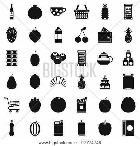 Beverage icons set. Simple style of 36 beverage vector icons for web isolated on white background