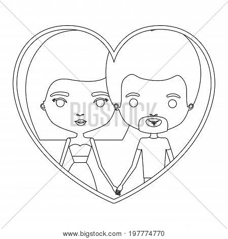monochrome silhouette heart shape portrait caricature with couple and him with short hair and van dyke beard and her with skirt and mushroom hairstyle vector illustration