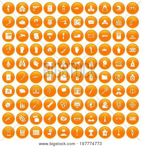 100 violation icons set in orange circle isolated vector illustration