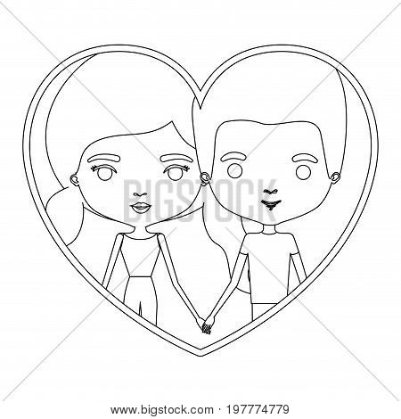 monochrome silhouette heart shape portrait caricature with couple and both with pants and her with pigtails hairstyle vector illustration