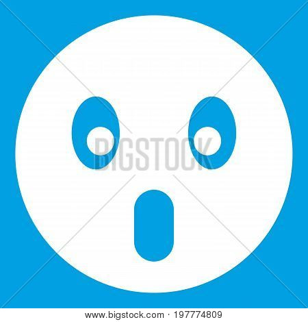 Frightened emoticon white isolated on blue background vector illustration