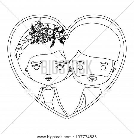 monochrome silhouette heart shape portrait caricature with couple and her with collected hair and floral crown and him with beard vector illustration