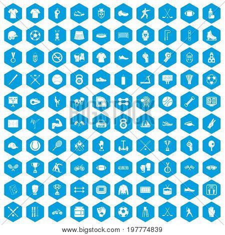 100 athlete icons set in blue hexagon isolated vector illustration