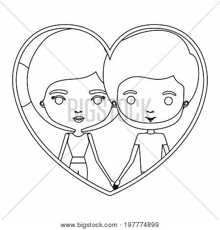 monochrome silhouette heart shape portrait caricature with couple and her with bun hair and him with beard vector illustration