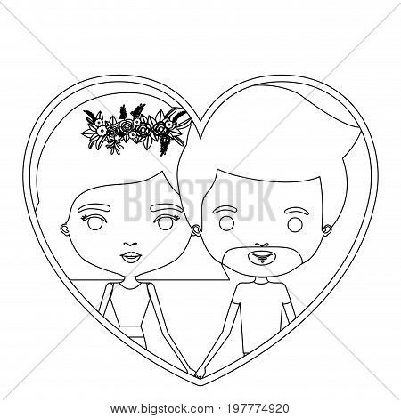 monochrome silhouette heart shape portrait caricature with couple and her with short hair and floral crown and him with van dyke beard vector illustration