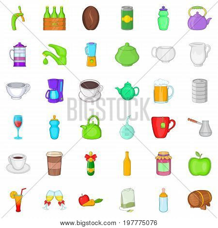Beverage icons set. Cartoon style of 36 beverage vector icons for web isolated on white background