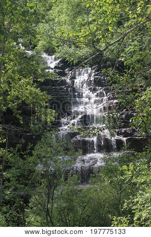 multi stepped mountain waterfall in green undergrowth