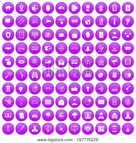 100 security icons set in purple circle isolated on white vector illustration
