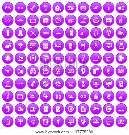 100 set in purple circle isolated on white vector illustration