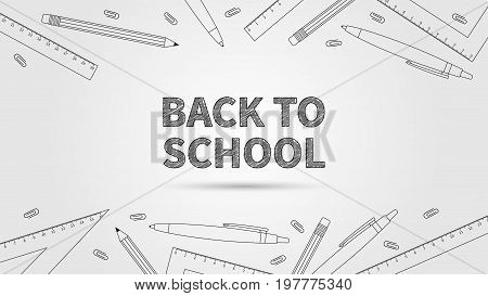 Back to school vector illustration. Creative concept Back to school with elements: pencil pen ruler staple in dark colors. Graphic design template on light grey background.