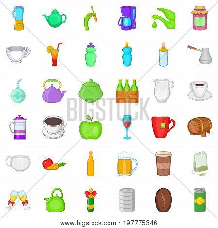 Different beverage icons set. Cartoon style of 36 different beverage vector icons for web isolated on white background