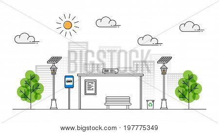 Sun energy sidewalk vector illustration. Urban streetlight with solar panel to generate electricity line art concept. Street lantern with alternative energy technology on the pavement graphic design.