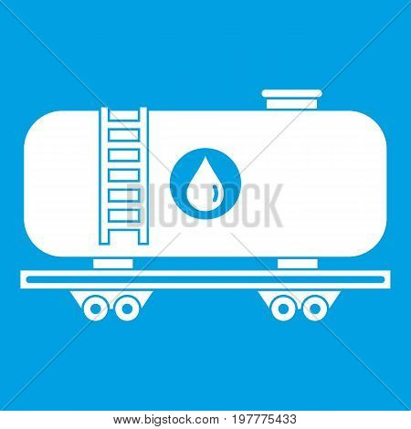 Oil railway tank icon white isolated on blue background vector illustration