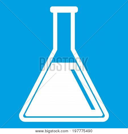 Test tube with oil icon white isolated on blue background vector illustration