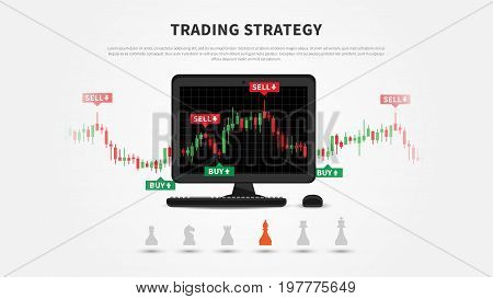 Trading strategy vector illustration. Investment strategies and online trading line art concept. Buy and sell indicators on the candlestick chart graphic design.
