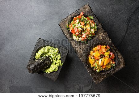 Famous Mexican Sauces Salsas - Pico De Gallo, Avocado Guacamole, Salsa Bandera Mexicana In Stone Mor