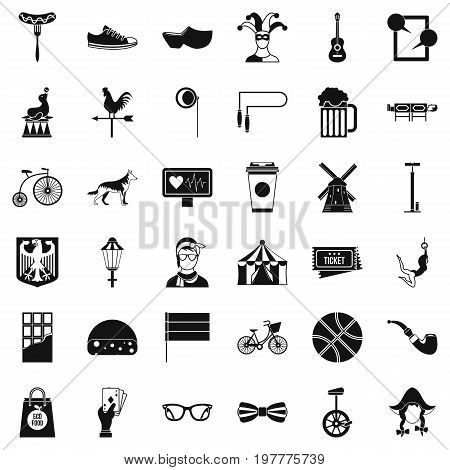Bicycle icons set. Simple style of 36 bicycle vector icons for web isolated on white background