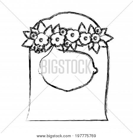 monochrome blurred silhouette of caricature faceless woman with straigh medium hairstyle and crown decorate with flowers vector illustration
