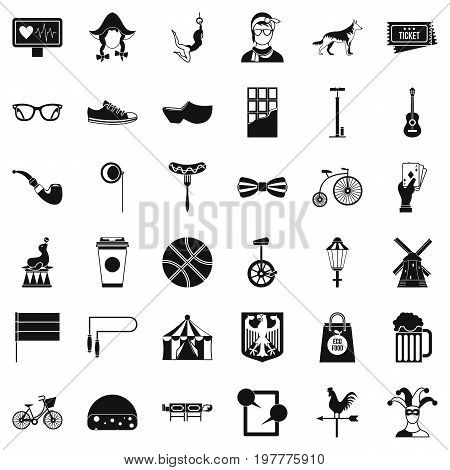 Sporting bike icons set. Simple style of 36 sporting bike vector icons for web isolated on white background