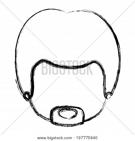 monochrome blurred silhouette of caricature faceless guy with van dyke beard vector illustration