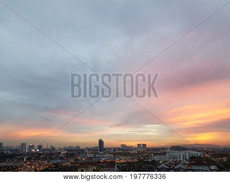 High angle Breathtaking colorful sunset view of Johor Bahru cityscape in Malaysia