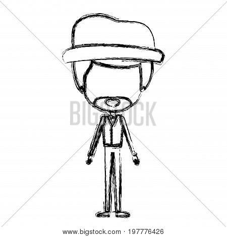 monochrome blurred silhouette of caricature faceless groom in wedding formal suit with van dyke beard and hat vector illustration