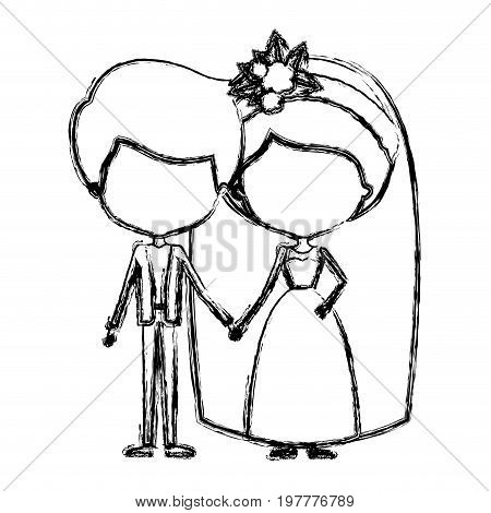 monochrome blurred silhouette of caricature faceless newly married couple groom with formal wear and bride with collected hairstyle vector illustration